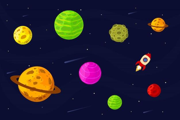 로켓과 우주 풍경입니다. 삽화. 평면 디자인.