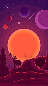 Space landscape with sunset and silhouette of a deer in purple tones