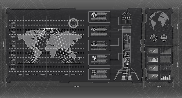 Космические ракеты интерфейса запуска, графический дисплей управления ракетой поддона.