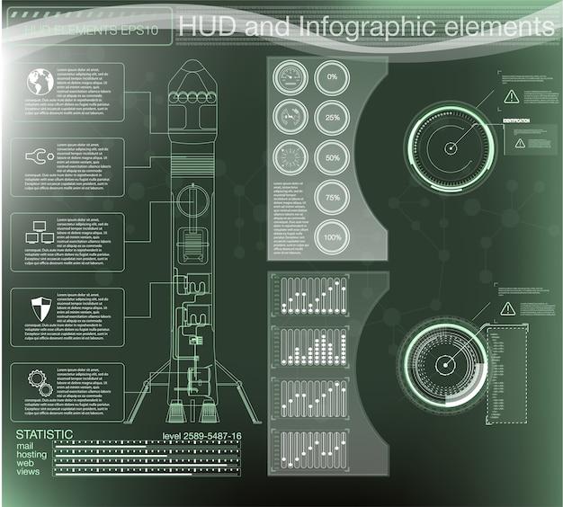 Космический интерфейс запуска ракет, графический дисплей управления ракетой.