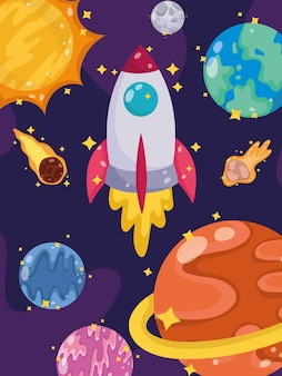 Space launch spaceship planets comet moon and sun cartoon  illustration
