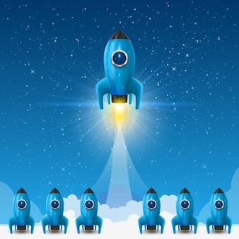 Space leader rocket launch, creative idea. vector illustration