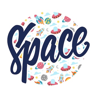 Space lettering typography pattern round badge