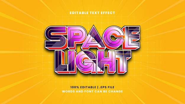 Space light editable text effect in modern 3d style