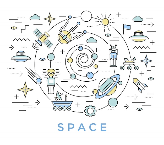 Space line art