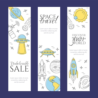 Space line banner set with elements of cosmos pictograms.