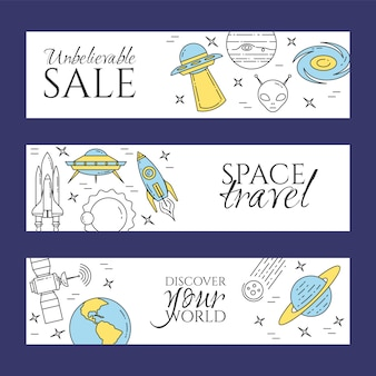 Space line banner with cosmos theme pictograms.