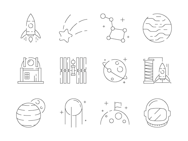Space linear icon set