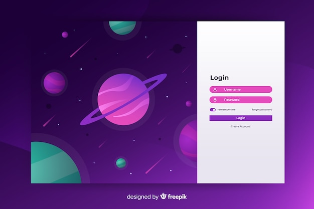 Space login landing page template