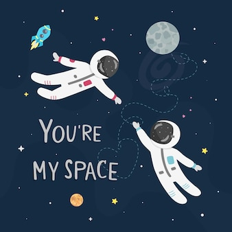 Space love illustration. boy astronaut and girl astronaut fly to each other. you're my space card.
