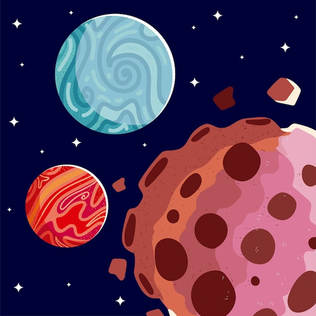 Space mars planets asteroids galaxy cosmos stars background  illustration