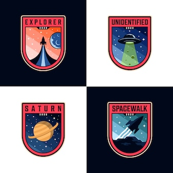 Space mission patches logo sets