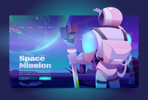 Space missions banner with astronaut in suit and helmet on alien planet in far galaxy