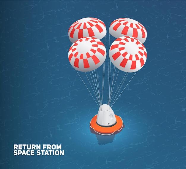 Космический модуль приземляется на воду изометрической иллюстрации