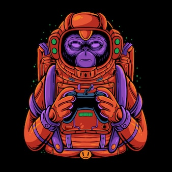 Space monkey holding game controller illustration