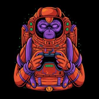 ゲームコントローライラストを保持しているスペースモンキー