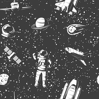 Space monochrome seamless pattern with astronaut cosmic objects manned ships satellite on starry sky
