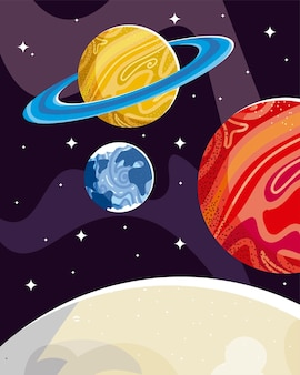 Space moon spaceship satellite and planet galaxy  illustration
