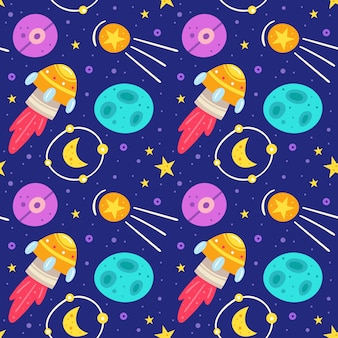 Space, night sky   flat seamless pattern