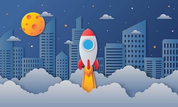 Космическое ночное небо в городе с ракетой и облаками
