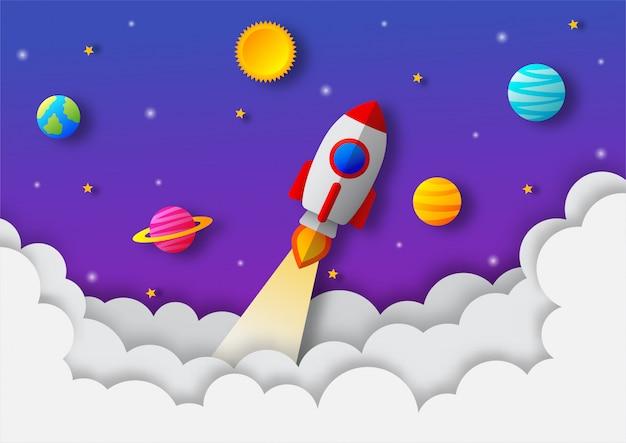 スペースの夜空。真夜中の月、星、ロケット、雲。ペーパーアートスタイル。