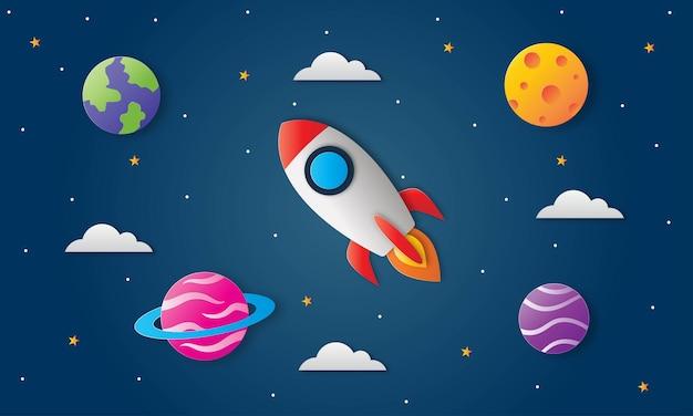 宇宙の夜空。真夜中の月、星、ロケット、雲。ペーパーアート