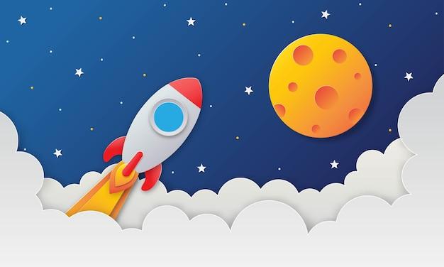 Космическое ночное небо с ракетой и облаками