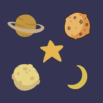 Space object symbol collection set social media post vector illustration
