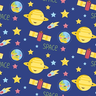 Space objects cartoon  seamless pattern