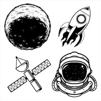 Дизайн космического пакета черно-белый
