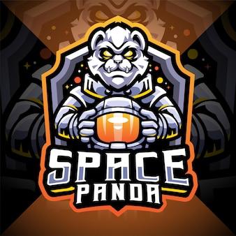 Space panda esport mascot logo design