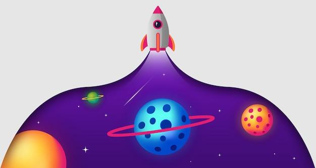 Space paper cut rocket illustration background