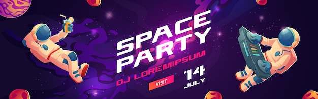 Space party cartoon flyers, invitation to music show with astronaut dj with turntable in open space