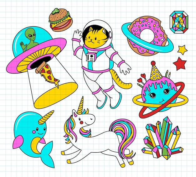 Space patch badges with unicorn, stars, cat, narwhal, alien and other elements for girls.