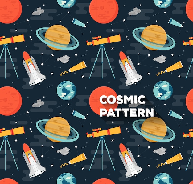 Space pattern in flat style
