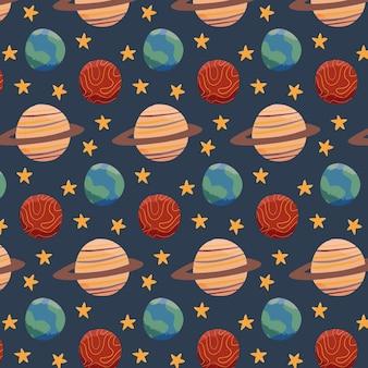 地球の火星と土星のある空間パターン