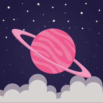 未来と宇宙のテーマの星空の背景に雲のある宇宙惑星