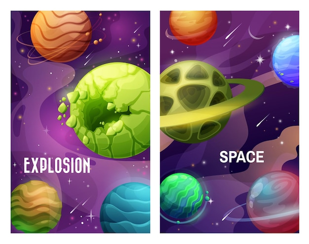 Space and planets, explosion in galaxy and asteroids