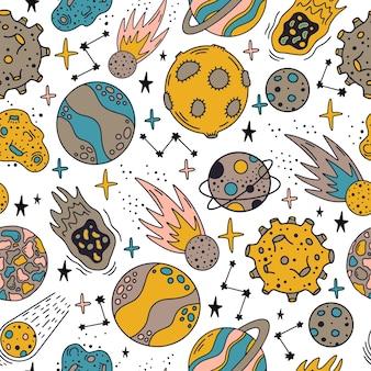 宇宙惑星のパターン。かわいい手描きの惑星と星のシームレスなパターン