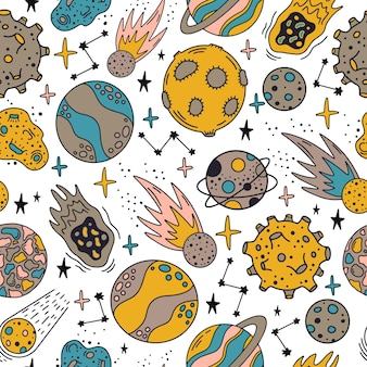 Space planets pattern. cute hand drawn planets and stars seamless pattern
