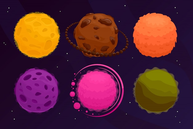 Space planets set. colorful fantasy asteroid and planet on black .  illustration .