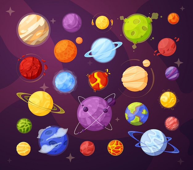 Space planets and stars cartoon illustrations set