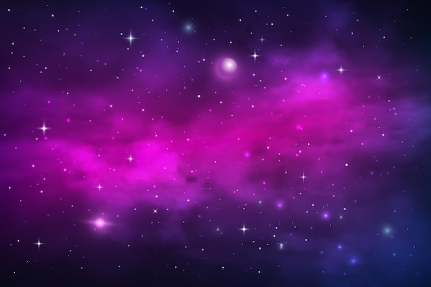 Space planets and stars, galaxy nebula and stardust vector cosmic background. blue purple realistic shining nebulosity cloud in starry universe. bright cosmos infinite, night sky backdrop wallpaper