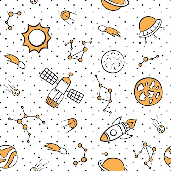 Space, planets, stars and rockets. cosmic seamless pattern in doodle and cartoon style.