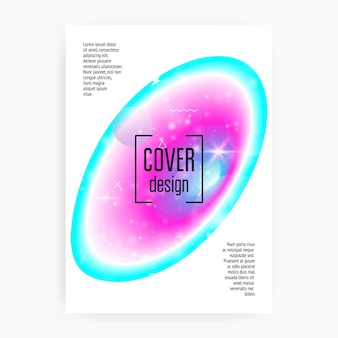 Space poster. holographic gradients. cosmic, galactic science cover with planet, sun, deep fluid light. 3d magic dreamer unicorn sparkles. space poster with galaxy universe shapes and stars.