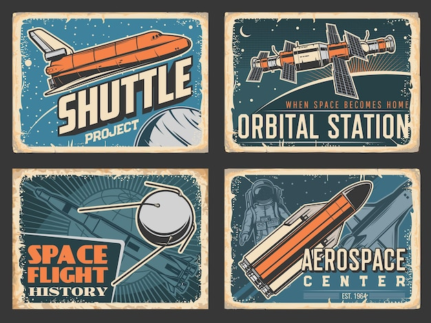Space posters, orbital station and shuttle rocket launch project