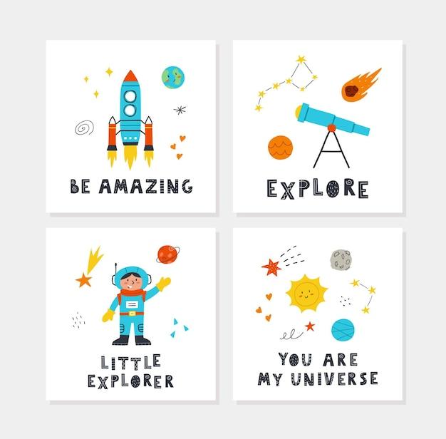 Космические плакаты с рисованной милой ракетой, планетами, звездами, ребенком, телескопом и надписями. векторный дизайн для детской комнаты, поздравительные открытки, футболки.