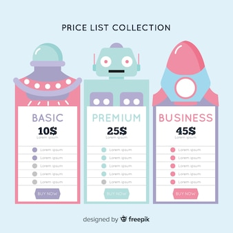 Space price list pack