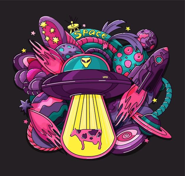 Космический принт с инопланетянами, планетами, ракетами, звездами, печать на фоне одежды, плаката