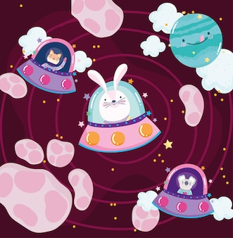 Space rabbit koala and cat in spaceship planets adventure explore cartoon  illustration